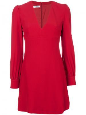 Платье с V-образным вырезом и структурными плечами Dondup. Цвет: красный