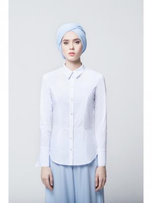 Блуза с баской белая Bella kareema. Цвет: белый
