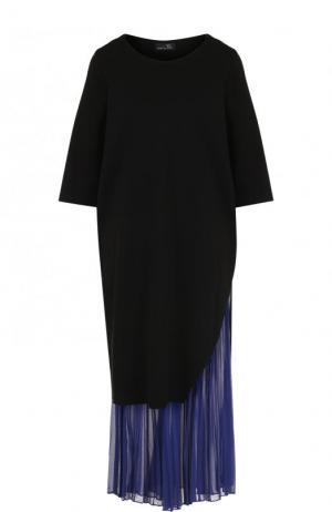 Платье-миди с контрастной плиссированной вставкой Yohji Yamamoto. Цвет: черный