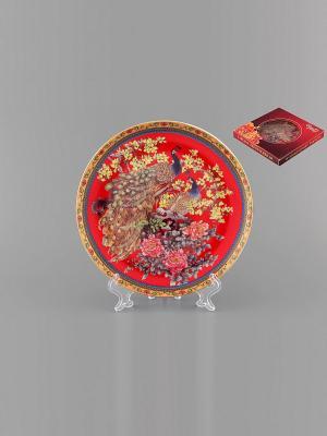 Тарелка декоративная Павлин Elan Gallery. Цвет: красный, коричневый, розовый, синий