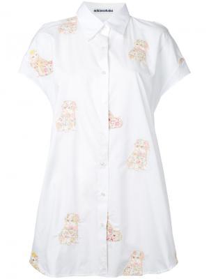 Рубашка с вышивкой кошек Mikio Sakabe. Цвет: белый