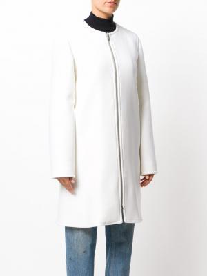 Пальто без воротника на молнии Courrèges. Цвет: белый