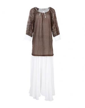 Длинное платье KI6? WHO ARE YOU?. Цвет: темно-коричневый