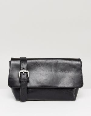 Vagabond Черная кожаная сумка-кошелек на пояс. Цвет: черный