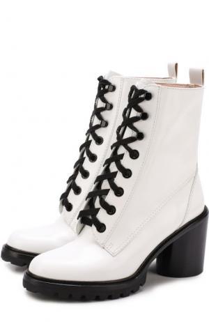 Кожаные ботильоны на шнуровке Marc Jacobs. Цвет: белый