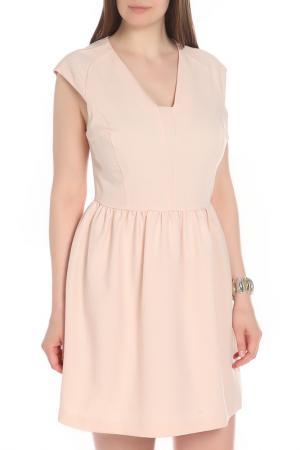 Летнее платье с V-образным вырезом MILTON. Цвет: бежевый