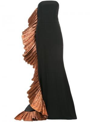 Вечернее платье с бронзовой отделкой Christian Siriano. Цвет: чёрный