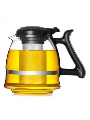 Стеклянный заварочный чайник SY-1500 с металлическим фильтром, 1500 мл Veitron. Цвет: прозрачный, черный