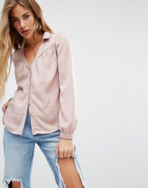 Honey Punch Атласная рубашка. Цвет: розовый