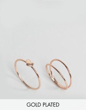 Gorjana Набор колец с покрытием розовым золотом. Цвет: золотой