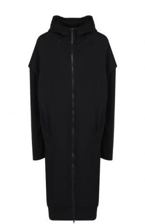 Хлопковое пальто на молнии с капюшоном Y-3. Цвет: черный