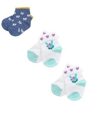 Носки детские,комплект 3 шт. Skinija. Цвет: серо-голубой, белый
