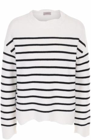 Шерстяной пуловер прямого кроя в полоску MRZ. Цвет: черно-белый