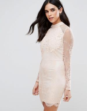 Girl In Mind Кружевное облегающее платье. Цвет: бежевый