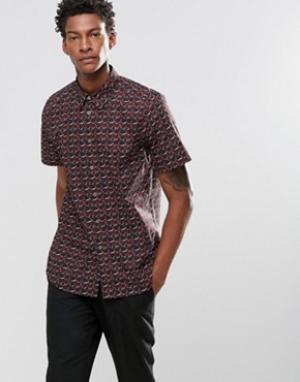 PS by Paul Smith Зауженная рубашка с короткими рукавами и принтом. Цвет: темно-синий