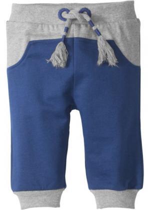 Для малышей: трикотажные брюки из органического хлопка (светло-серый меланж/ночная синь) bonprix. Цвет: светло-серый меланж/ночная синь