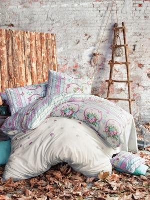 Комплект постельного белья GAZELLE ранфорс, 145ТС, евро ISSIMO Home. Цвет: светло-серый