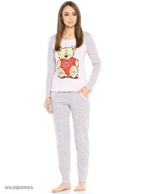 Пижама MARSOFINA. Цвет: розовый, серый