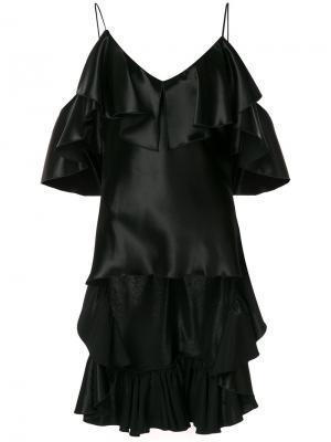 Блузка с рюшами Maria Lucia Hohan. Цвет: чёрный