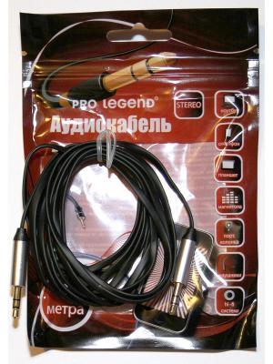 Кабель соединительный Pro Legend, 3.5 Jack (M)  - плоский кабель, черный, 1м. Legend. Цвет: черный