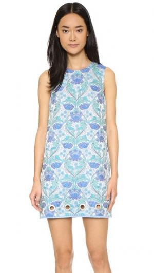 Платье из жаккарда с цветочным рисунком Clover Canyon. Цвет: синий