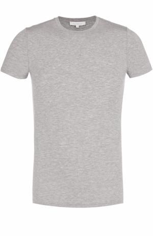 Хлопковая футболка с круглым вырезом Ermenegildo Zegna. Цвет: серый