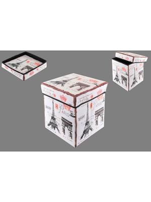 Пуф складной с ящиком для хранения Эйфелева башня EL CASA. Цвет: белый, черный, красный