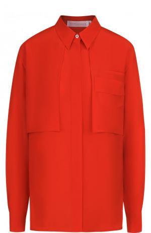 Шелковая блуза свободного кроя с накладными карманами Victoria Beckham. Цвет: красный