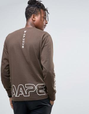 AAPE BY A BATHING APE Лонгслив с камуфляжным логотипом. Цвет: черный