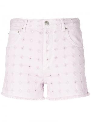 Джинсовые шорты с цветочной отделкой Isabel Marant Étoile. Цвет: розовый и фиолетовый