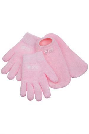 Гелевые носки и перчатки SPA BELLE. Цвет: розовый