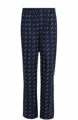 Хлопковые брюки свободного кроя с поясом на резинке Balenciaga. Цвет: темно-синий