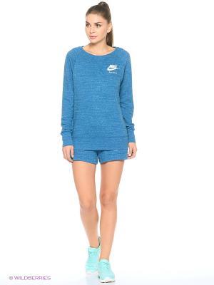 Свитшот W NSW GYM VNTG CREW Nike. Цвет: темно-синий, голубой