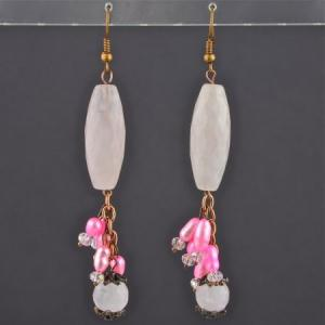 Серьги розовый кварц, жемчуг миледи Бусики-Колечки