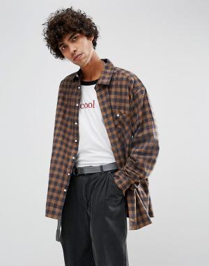 Dead Vintage Рубашка в клетку James. Цвет: золотой