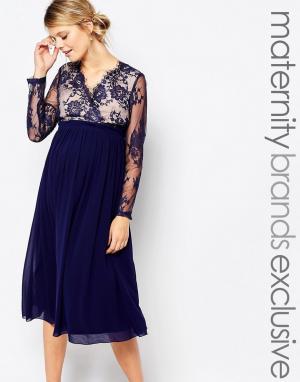 Little Mistress Maternity Приталенное платье для беременных с кружевной отделкой. Цвет: темно-синий