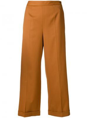 Укороченные широкие брюки Mm6 Maison Margiela. Цвет: коричневый