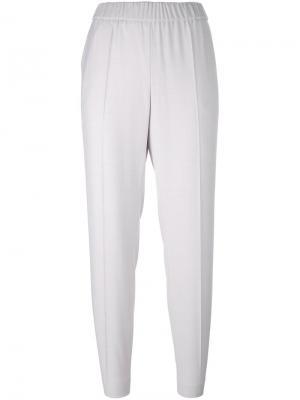 Зауженные брюки с эластичным поясом Les Copains. Цвет: розовый и фиолетовый