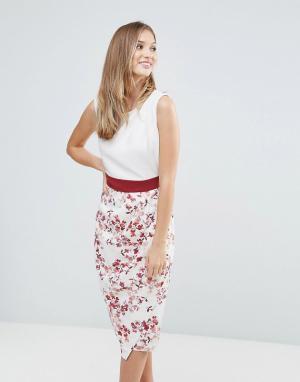 Closet London Платье с цветочным принтом и драпированной юбкой. Цвет: мульти