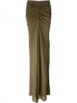 Длинная драпированная юбка Rick Owens Lilies. Цвет: зелёный