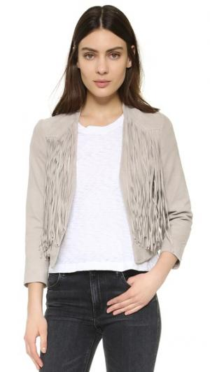 Куртка с бахромой из козьей замши Doma. Цвет: серый