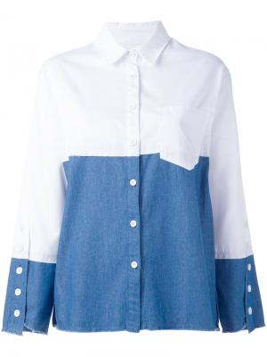 Двухцветная свободная рубашка Steve J & Yoni P. Цвет: белый