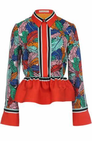 Шелковая блуза с ярким принтом и баской Emilio Pucci. Цвет: оранжевый