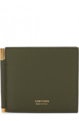 Кожаный зажим для купюр с отделениями кредитных карт Tom Ford. Цвет: оливковый