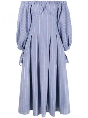 Платье с открытыми плечами в полоску Rejina Pyo. Цвет: синий