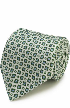 Шелковый галстук с узором Kiton. Цвет: зеленый