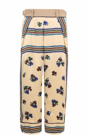 Укороченные брюки с карманами и принтом Sacai. Цвет: бежевый
