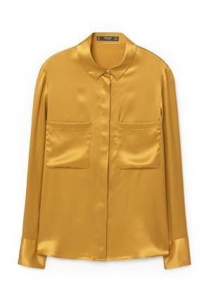 Рубашка Mango. Цвет: желтый