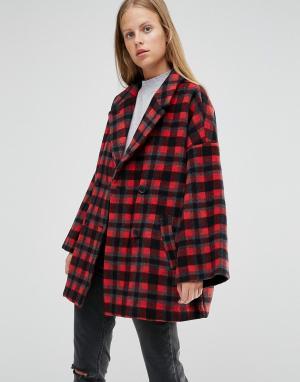 Ganni Двубортное пальто в красную клетку. Цвет: мульти