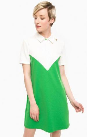 Платье-футболка с отложным воротником POIS. Цвет: зеленый
